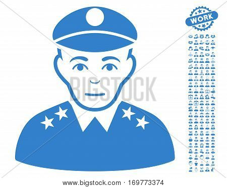 Army General pictograph with bonus people pictures. Vector illustration style is flat iconic cobalt symbols on white background.