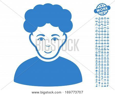 Brunet Man icon with bonus human clip art. Vector illustration style is flat iconic cobalt symbols on white background.