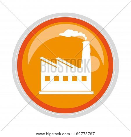 circular button with factory and smoke contamination vector illustration