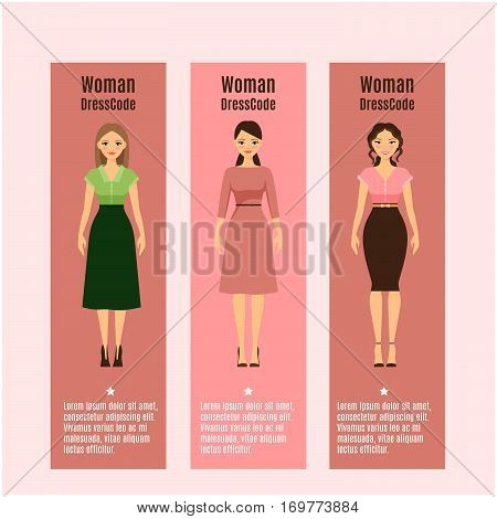 Woman DressCode vertical flyers set with text. Vector illustration