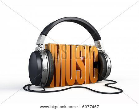 Music word with headphones