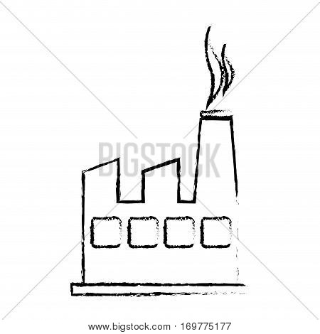 silhouette sketch blurred factory and smoke contamination vector illustration
