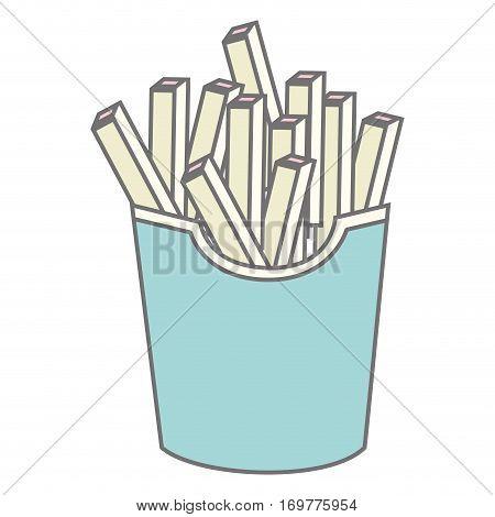 silhouette pastel color fries portion vector illustration