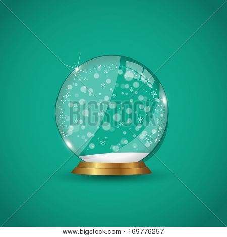 Winter snow globe illustration on a green background