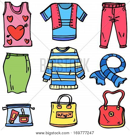 Doodle of clothes set and bag women collection stock