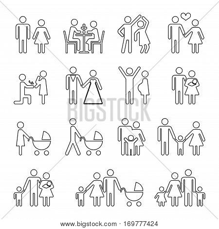 Family vector thin line icons set in black and white. Collection of linear family situation illustration
