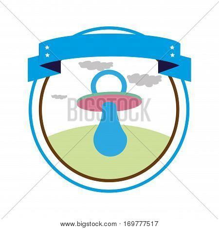circular border with label and baby pacifier with rubber soother vector illustration