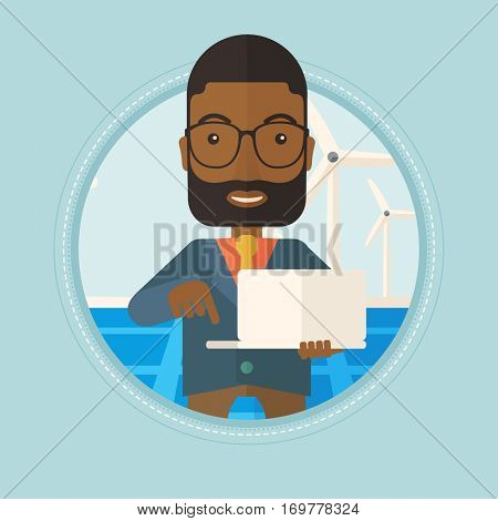 An african worker of solar power plant and wind farm. Man working on laptop on the background of solar panels and wind turbines. Vector flat design illustration in the circle isolated on background.