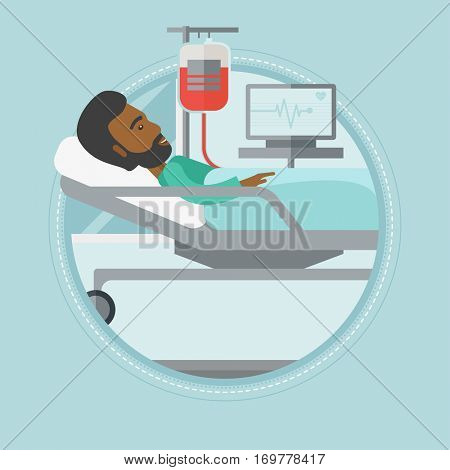 An african-american patient lying in hospital bed. Man resting in hospital bed during blood transfusion procedure. Vector flat design illustration in the circle isolated on background.