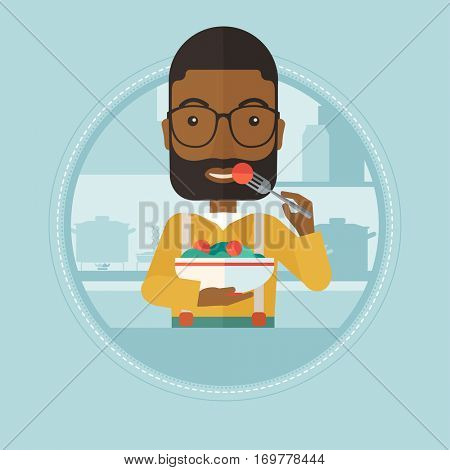 An african-american man eating healthy vegetable salad. Young man eating fresh vegetable salad. Man holding bowl full of salad. Vector flat design illustration in the circle isolated on background.