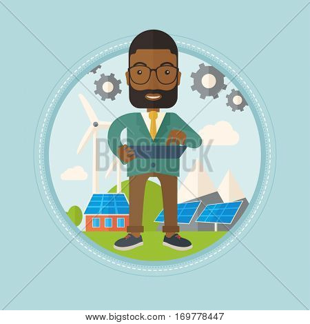 An african worker of solar power plant and wind farm. Worker with tablet computer on background of solar panels and wind turbines. Vector flat design illustration in the circle isolated on background.