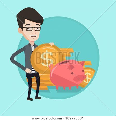 Businessman putting money in a piggy bank. Caucasian smiling businessman saving his money in piggy bank. Concept of saving money. Vector flat design illustration in the circle isolated on background.
