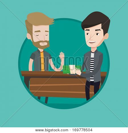 Caucasian businessman giving a bribe. Uncorrupted hipster man with beard refusing to take a bribe. Bribery and corruption concept. Vector flat design illustration in the circle isolated on background