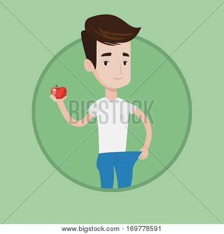 Young happy man on a diet. Slim man with apple in hand showing the results of his diet. Concept of dieting and healthy lifestyle. Vector flat design illustration in the circle isolated on background.