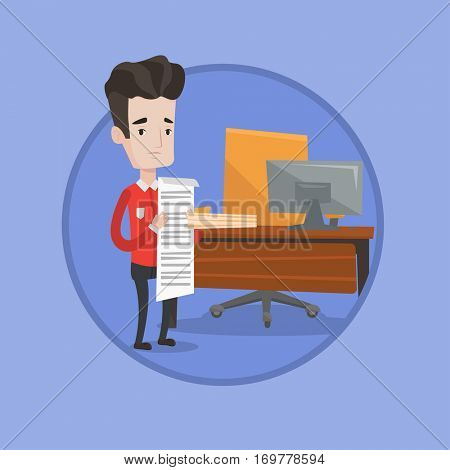 Worried businessman standing with long bill in office. Businessman holding a long bill. Disappointed businessman checking bills. Vector flat design illustration in the circle isolated on background.