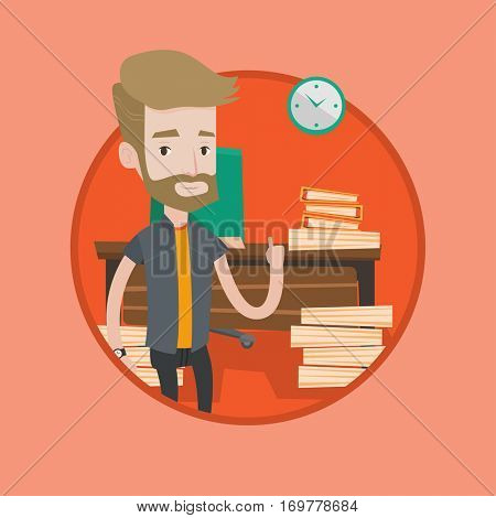 Caucasian businessman standing in office and pointing at time on clock. Hipster man working against time. Time management concept. Vector flat design illustration in the circle isolated on background.