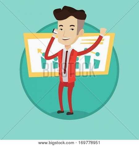 Successful businessman getting good news on mobile phone. Successful businessman talking on mobile phone. Business success concept. Vector flat design illustration in the circle isolated on background