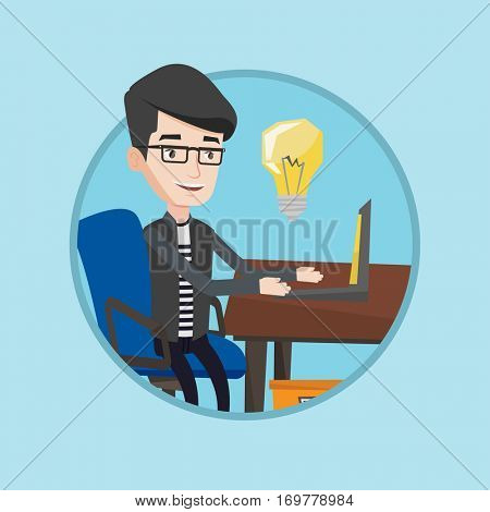 Young businessman working on laptop with idea light bulb. Caucasian man having a business idea. Successful business idea concept. Vector flat design illustration in the circle isolated on background.