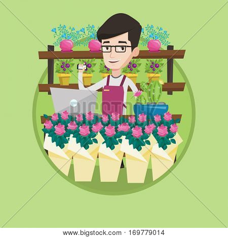 Florist using telephone and laptop to take order. Florist standing at the counter at flower shop. Man working in flower shop. Vector flat design illustration in the circle isolated on background.