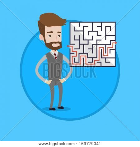 Businessman looking at labyrinth with solution. Caucasian businessman thinking about business solution. Business solution concept. Vector flat design illustration in the circle isolated on background.