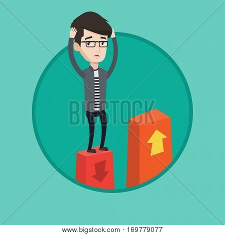 Caucasian frightened bankrupt clutching his head. Young bankrupt standing on chart going down. Concept of business bankruptcy. Vector flat design illustration in the circle isolated on background.
