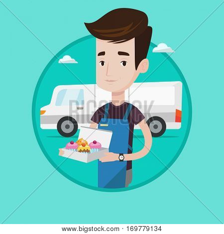 Delivery man holding a box of cakes. Baker delivering cakes. Young man with cupcakes standing on the background of delivery truck. Vector flat design illustration in the circle isolated on background.