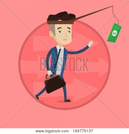 Businessman catching money on fishing rod. Businessman running for money hanging on fishing rod. Financial motivation concept. Vector flat design illustration in the circle isolated on background.