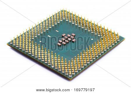 Computer CPU close-up isolated on white background