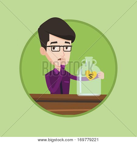 Worried bankrupt looking at empty money box. Desperate bankrupt sitting at the table with empty money box. Bankruptcy concept. Vector flat design illustration in the circle isolated on background.