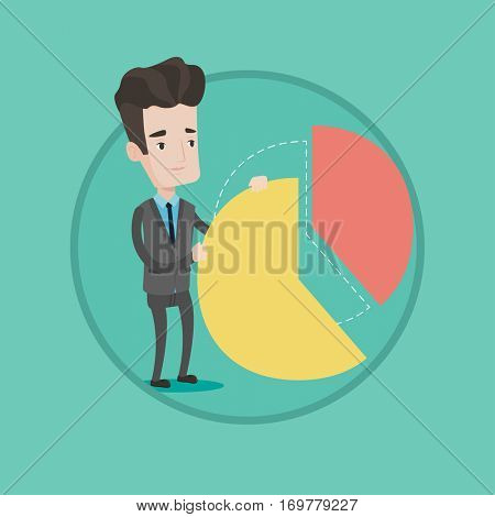 Caucasian shareholder taking his share of financial pie chart. Shareholder getting his share of profit. Businessman sharing profit. Vector flat design illustration in the circle isolated on background