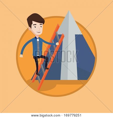 Young businessman climbing the ladder. Businessman climbing on mountain. Businessman climbing upward to the top of a big arrow. Vector flat design illustration in the circle isolated on background.
