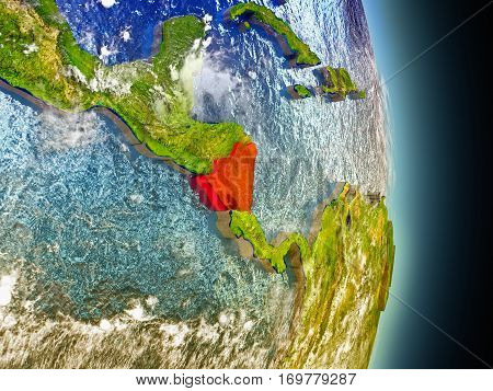 Nicaragua In Red From Space