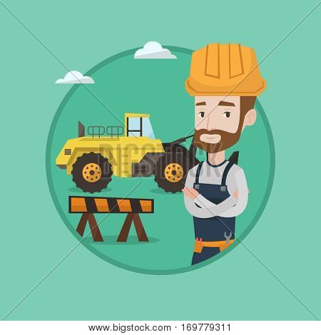 Builder standing with arms crossed. Confident builder in hard hat standing on a background of construction site or road works. Vector flat design illustration in the circle isolated on background.