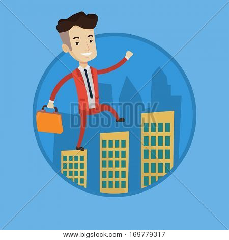 Businessman walking on the roofs of city buildings. Businessman walking on roofs of skyscrapers. Businessman walking to success. Vector flat design illustration in the circle isolated on background.
