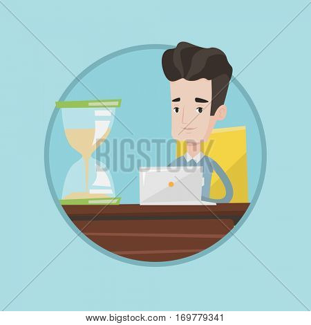 Caucasian businessman sitting at the table with hourglass symbolizing deadline. Businessman coping with deadline successfully. Vector flat design illustration in the circle isolated on background.