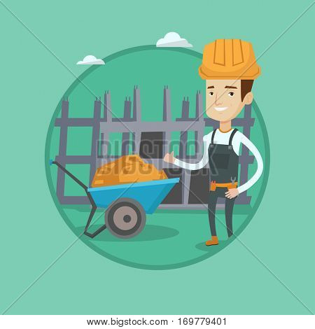 Young happy builder in hard hat giving thumb up. Caucasian builder with thumb up standing on the background of construction site. Vector flat design illustration in the circle isolated on background.