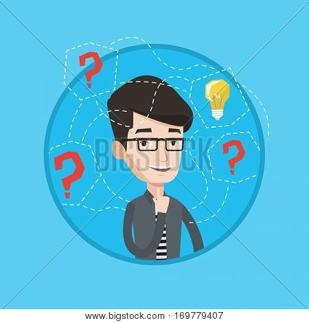 An excited man having business idea. Businessman standing with question marks and idea bulb above his head. Business idea concept. Vector flat design illustration in the circle isolated on background.