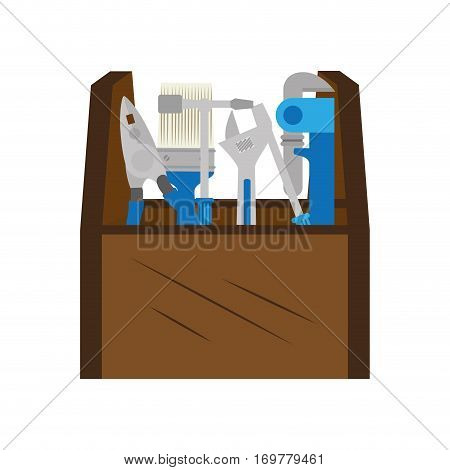 color silhouette with toolbox with wrench and pliers and paintbrush