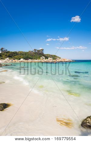 A beautiful day on the beach at The Gardens. The Gardens is a beautiful little cove in the Bay of Fires on the East Coast of Tasmania, Australia.