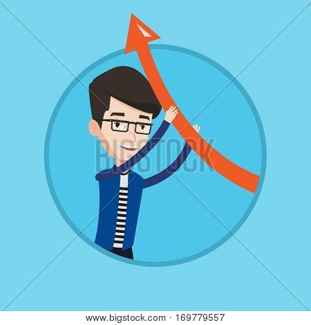 Young caucasian businessman holding arrow going up. Successful businessman changing the path of an arrow to a positive increase. Vector flat design illustration in the circle isolated on background.
