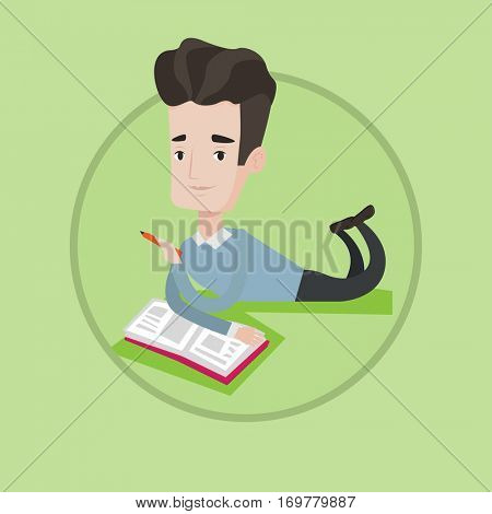 Smiling student laying on the floor and reading a book. Student laying with a notebook. Student writing while laying on the floor. Vector flat design illustration in the circle isolated on background.