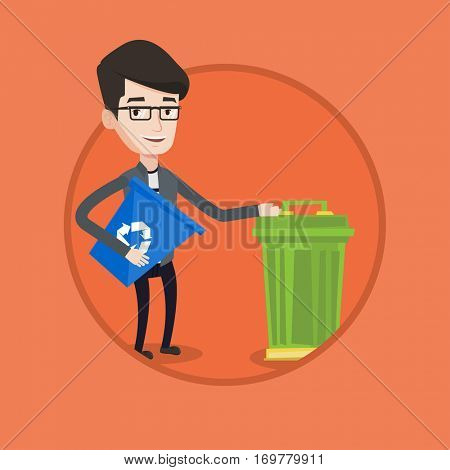 Young man carrying recycling bin. Caucasian happy man holding recycling bin while standing near trash can. Waste recycling concept. Vector flat design illustration in the circle isolated on background