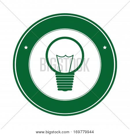 color circle silhouette with green light bulb icon with filaments vector illustration
