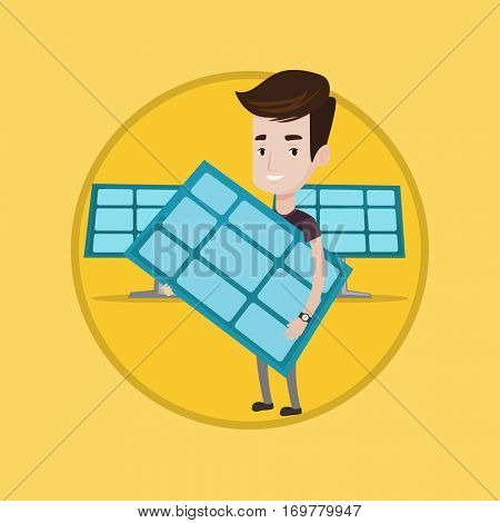 Young happy man holding solar panel in hands. Caucasian man with solar panel in hands standing on background of solar power plant. Vector flat design illustration in the circle isolated on background.
