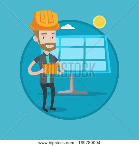 Hipster engineer with beard working on digital tablet at solar power plant. Young worker in hard hat checking solar panel setup. Vector flat design illustration in the circle isolated on background.