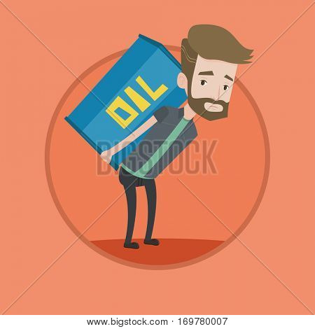 Hipster man carrying an oil barrel on his back. Sad man walking with oil barrel on his back. Upset man holding heavy oil barrel. Vector flat design illustration in the circle isolated on background.