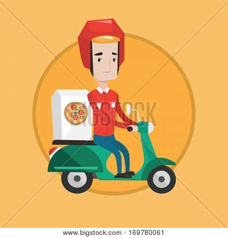 Young caucasian man delivering pizza on scooter. Young courier driving a scooter and delivering pizza. Concept of food delivery. Vector flat design illustration in the circle isolated on background.