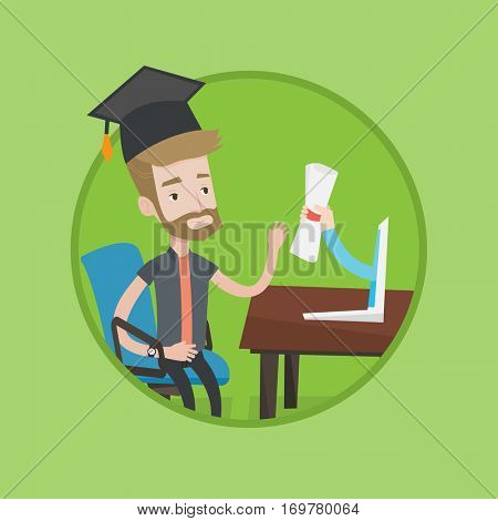 Graduate getting diploma from the computer. Student in graduation cap working on computer. Online education and graduation concept. Vector flat design illustration in the circle isolated on background