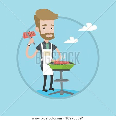 Hipster man cooking meat on the barbecue grill. Young man preparing steak on the barbecue grill. Man having outdoor barbecue. Vector flat design illustration in the circle isolated on background.