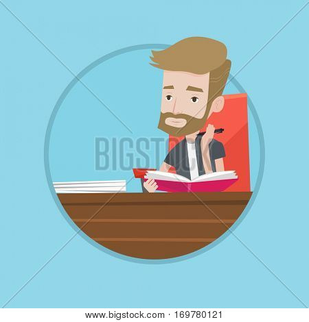 Caucasian student sitting at the table and thinking. Thinking student writing in exercise book. Thinking student doing homework. Vector flat design illustration in the circle isolated on background.